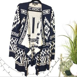 Absolutely Famous Aztec Navy Tan Cardigan Sweater